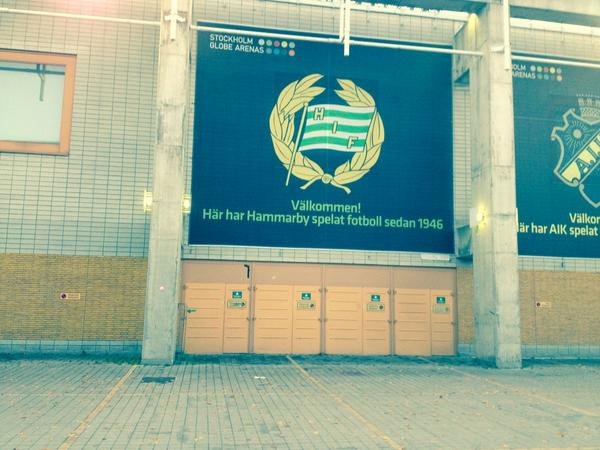 The Hammarby IF Branding at the Stockholm Globe. (Photo: Dominic Hinde)