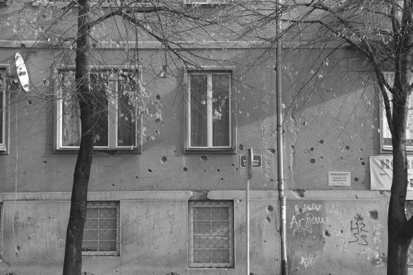 Evidence of shelling Sarajevo