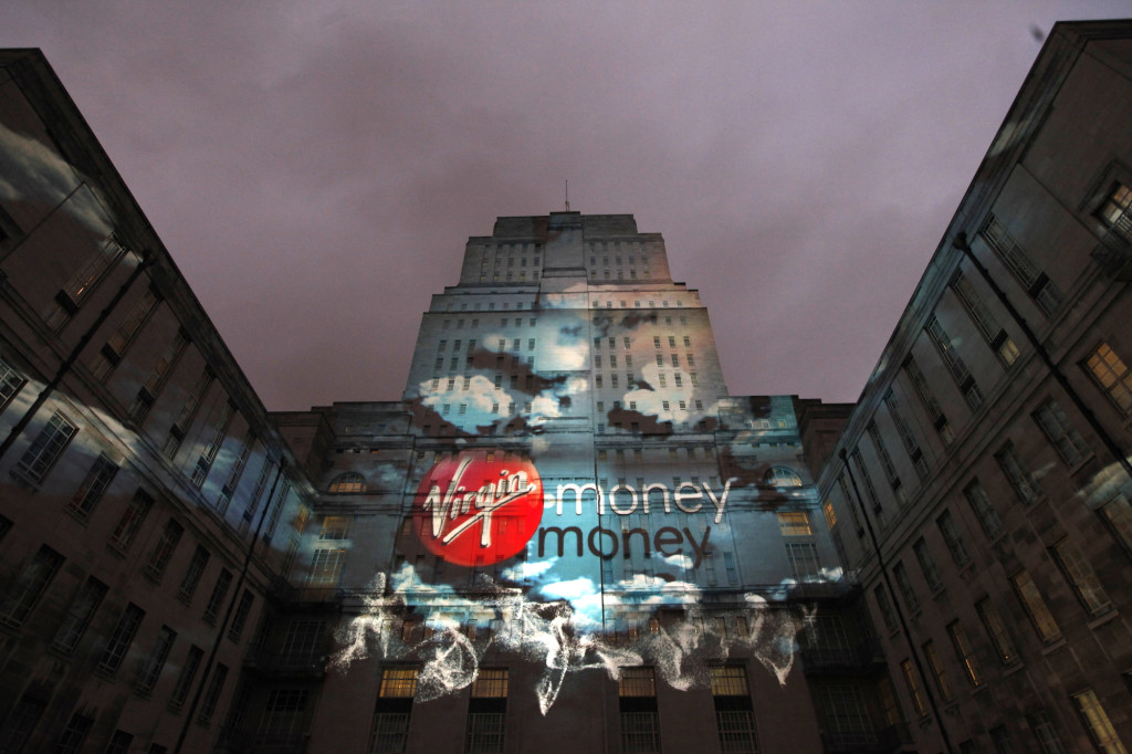 Virgin Money launch event: 3D architectural projection at Senate House, University of London, 2012. Photo courtesy of Virgin Money.