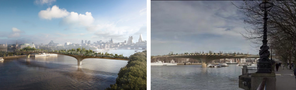 The widely disseminated image from a drone next to one from the planning application (which The Garden Bridge Trust don't share so frequently)(presumed © Thomas Heatherwick)